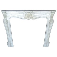 French Antique Louis XV Style Marble Fireplace, 19th Century, France