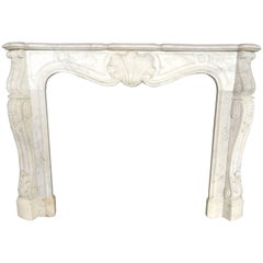 Antique Marble Fireplace White Carrera Exceptional Quality France, circa 1790s