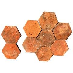 French Antique Terracotta Flooring Hexagonal, 18th Century, France