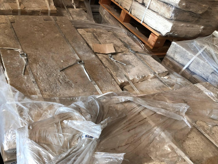 Hand-Crafted French Antique Limestone Flooring, 17th Century, France For Sale