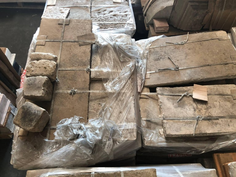 French Antique Limestone Flooring, 17th Century, France For Sale 1