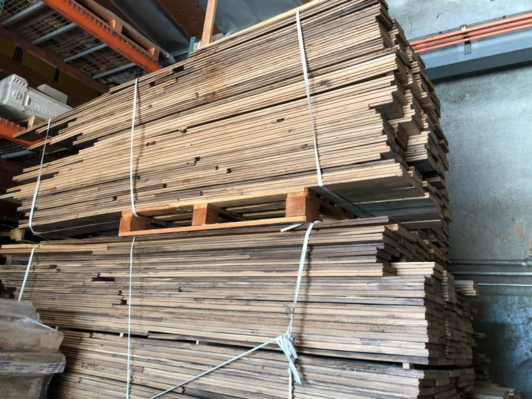 French Antique Solid Wood Oak 18th Century Flooring, France In Good Condition For Sale In LOS ANGELES, CA