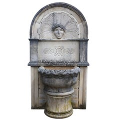 "Wall Fountain in Limestone Dite ""Dainvilloise"" Handcrafted, France"