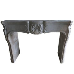 """Louis XV Style Fireplace in Marble-Stone Called """"Pierre Marbriere"""", Burgundy"""