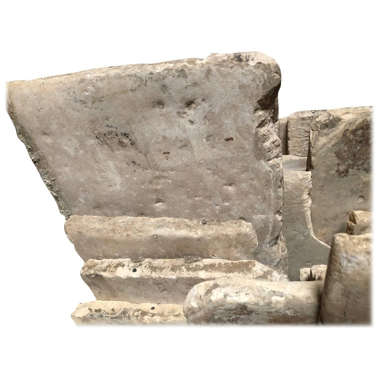 Opus Roman solid antique limestone flooring, 17th century. Price per square foot.