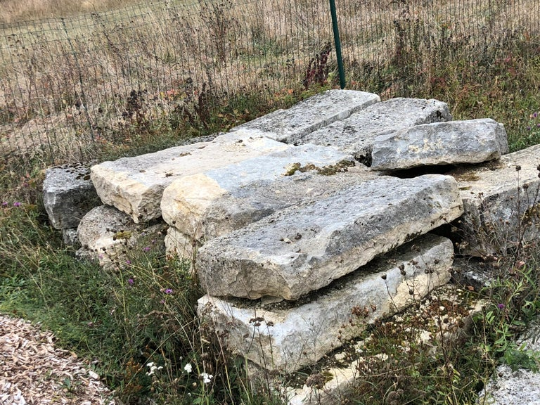 Hand-Crafted Authentic French Antique Solid Limestone, 17th Century, France For Sale