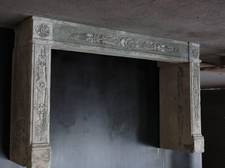 Original Normandy provenance, French antique Louis XVI period fireplace, hand carved in the 18th century, circa 1790s, France.  Excellent fine quality of sculptures on mantel and legs, with rosaces and flowers carving, Fine art.  Rare and
