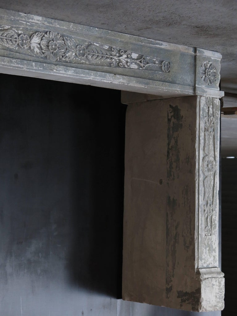 Hand-Carved Normandy French Limestone Fireplace, Louis XVI Period, 18th Century, France For Sale