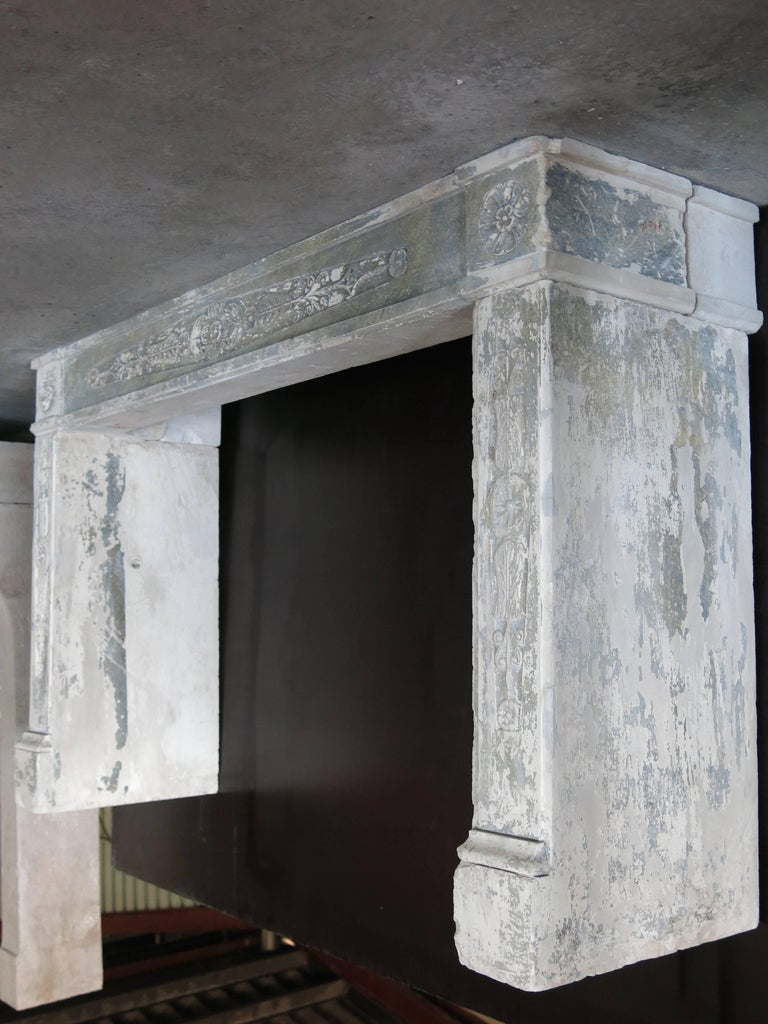 Normandy French Limestone Fireplace, Louis XVI Period, 18th Century, France In Good Condition For Sale In LOS ANGELES, CA