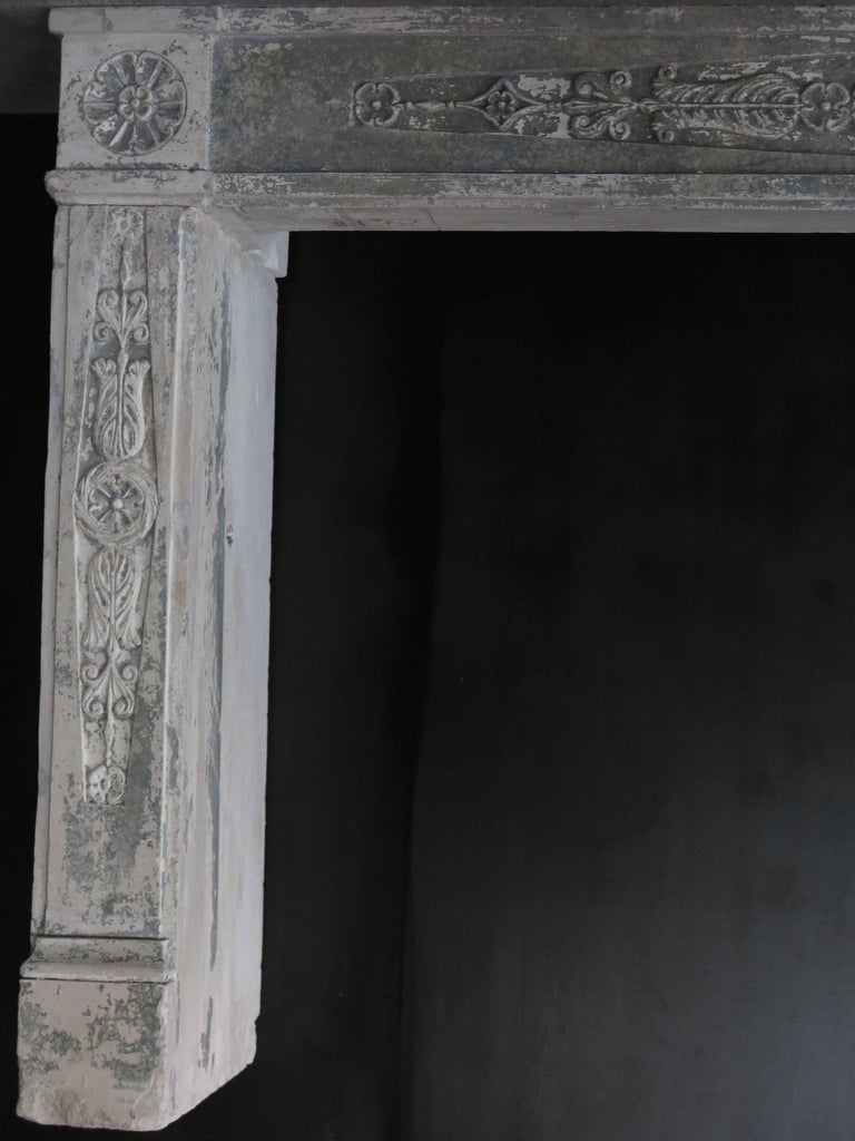 18th Century and Earlier Normandy French Limestone Fireplace, Louis XVI Period, 18th Century, France For Sale
