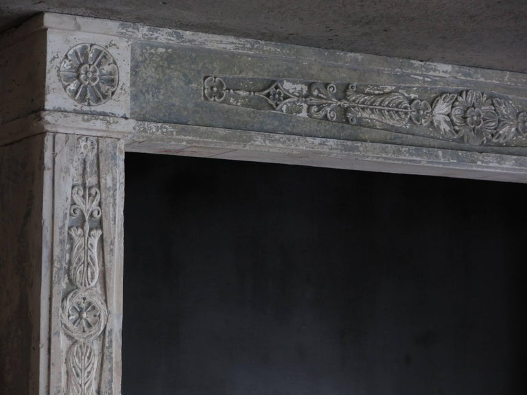Normandy French Limestone Fireplace, Louis XVI Period, 18th Century, France For Sale 4