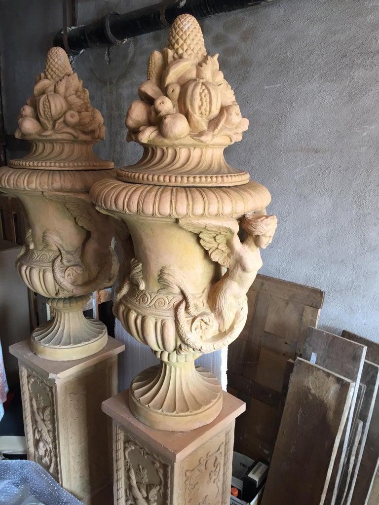 Terracotta Renaissance Mediterranean Style Urns in Terra Cotta, Late 20th Century For Sale