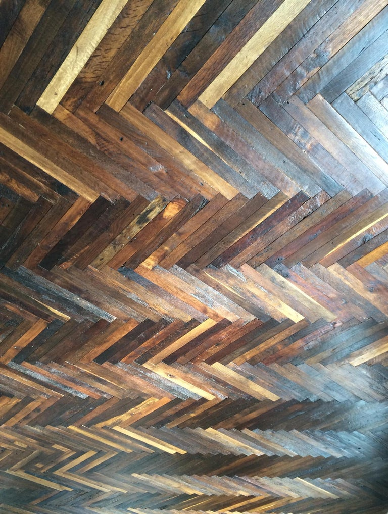 French Antique Solid Wood Oak Herringbone Pattern, 18th Century, France For Sale 1