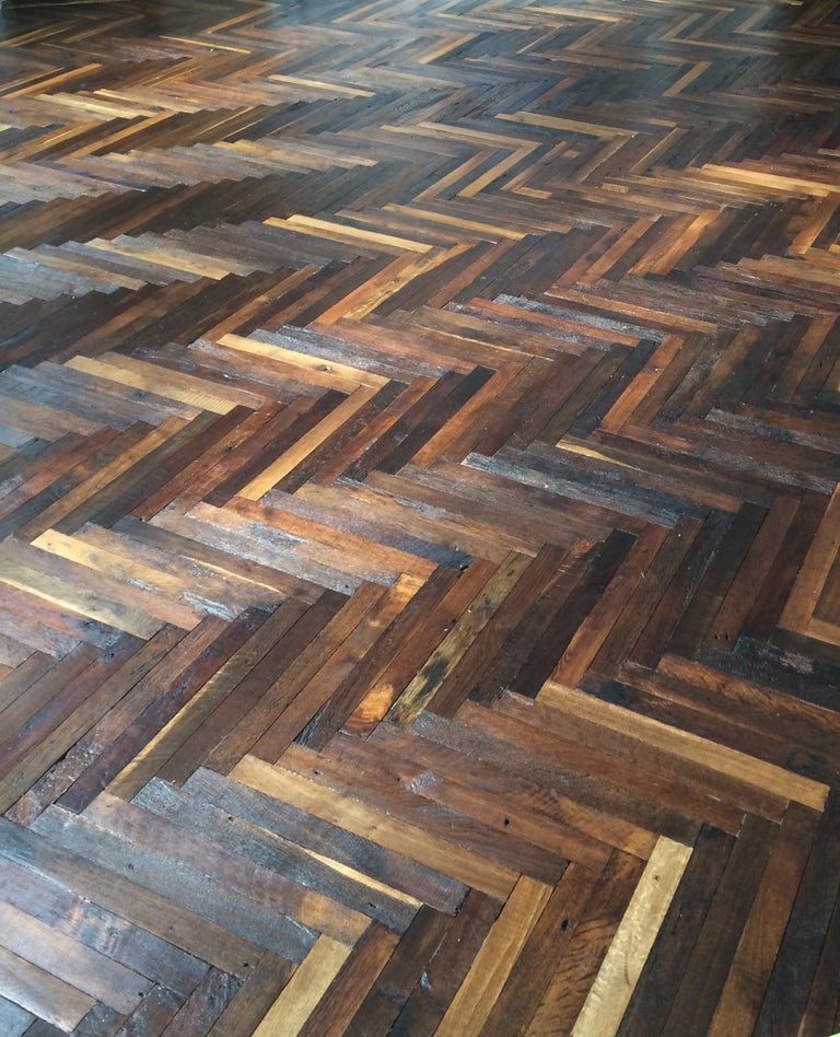 Louis XIV French Antique Solid Wood Oak Herringbone Pattern 18th Century, France For Sale