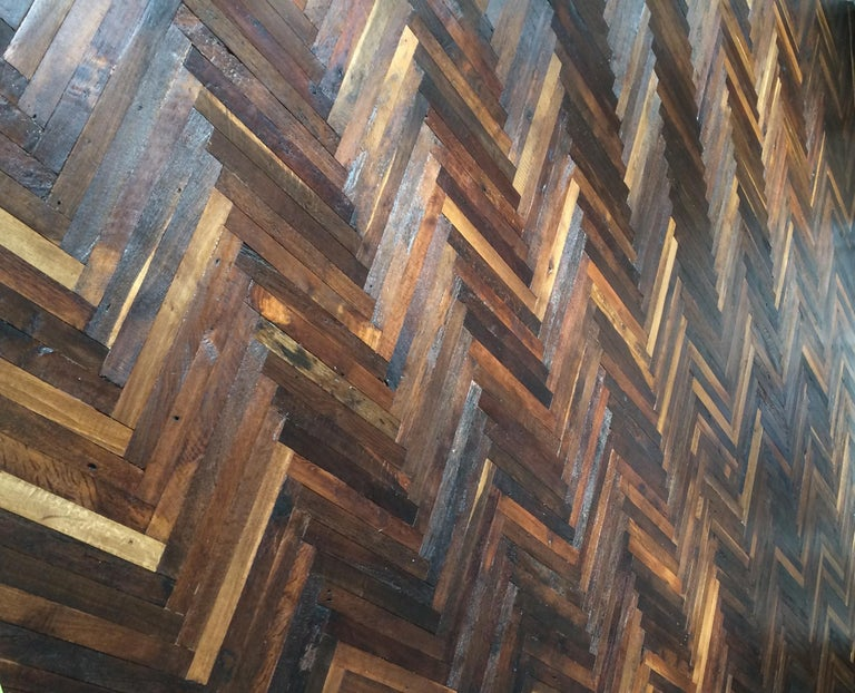 French Antique Solid Wood Oak Herringbone Pattern 18th Century, France In Good Condition For Sale In LOS ANGELES, CA