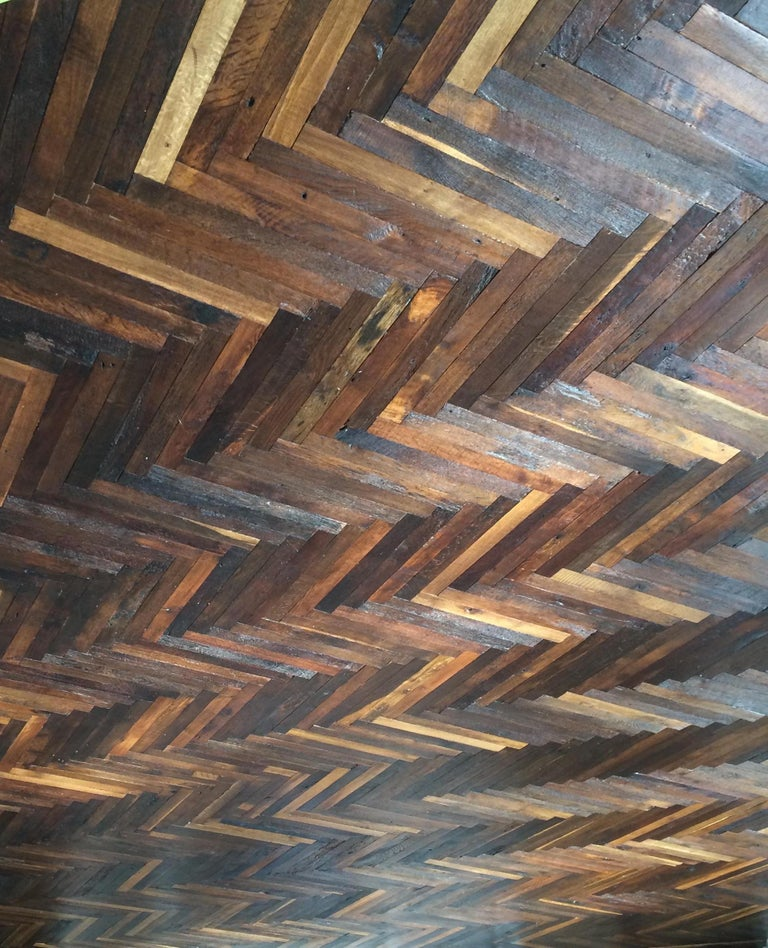 18th Century and Earlier French Antique Solid Wood Oak Herringbone Pattern 18th Century, France For Sale
