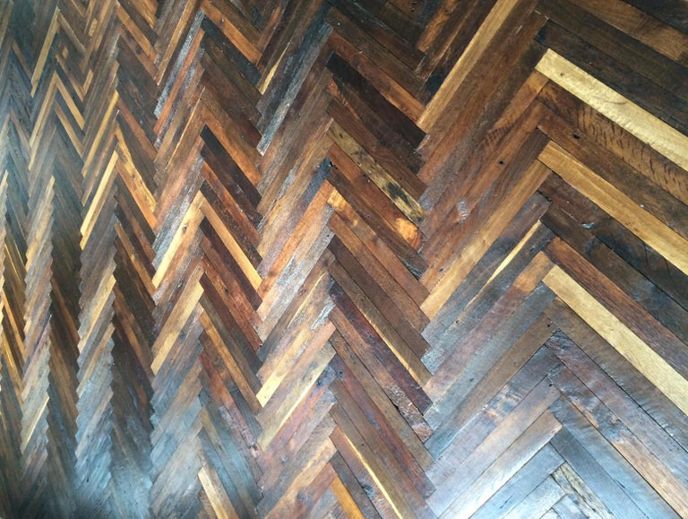 French Antique Solid Wood Oak Herringbone Pattern 18th Century, France For Sale 2