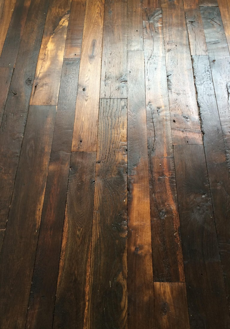 French Antique Solid Wood Oak Herringbone Pattern 18th Century, France For Sale 5