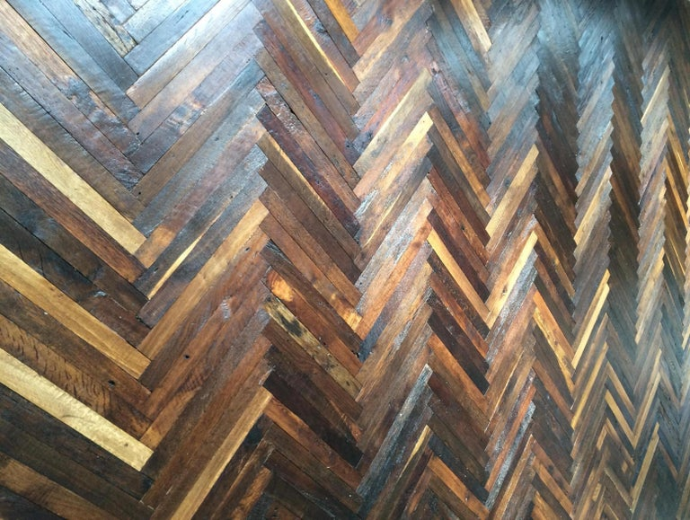 French antique solid wood oak herringbone pattern from France, 18th century.