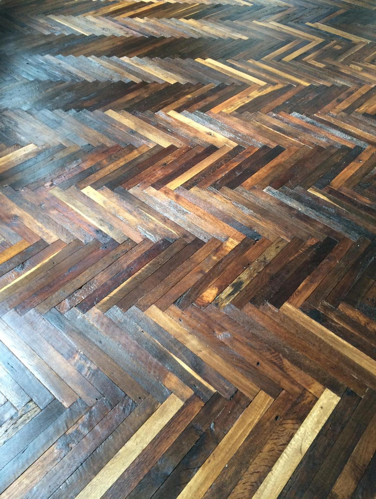 Hand-Crafted French Antique Solid Wood Oak Herringbone Pattern, 18th Century, France For Sale