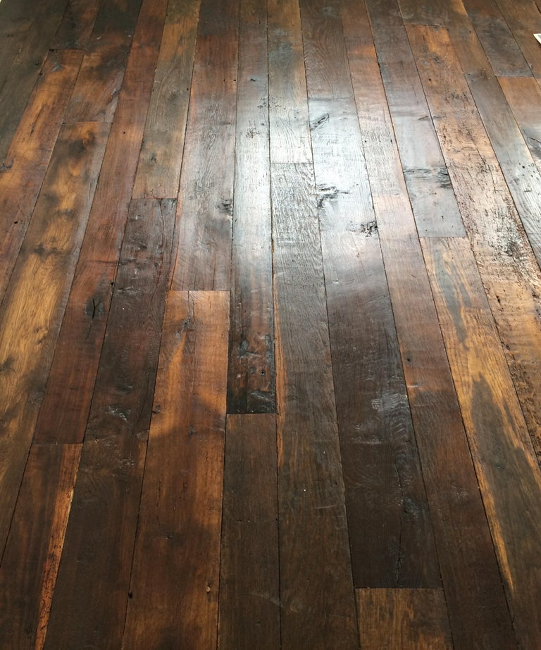 French Antique Solid Wood Oak Herringbone Pattern, 18th Century, France For Sale 3