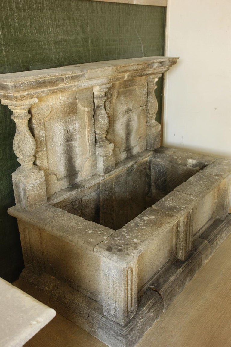 Hand-Crafted Italian Wall Fountain 3 Columns Handcrafted Limestone, Late 20th Century, Italy For Sale