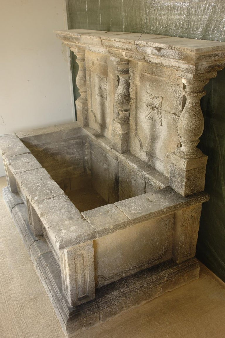 Italian Wall Fountain 3 Columns Handcrafted Limestone, Late 20th Century, Italy For Sale 5