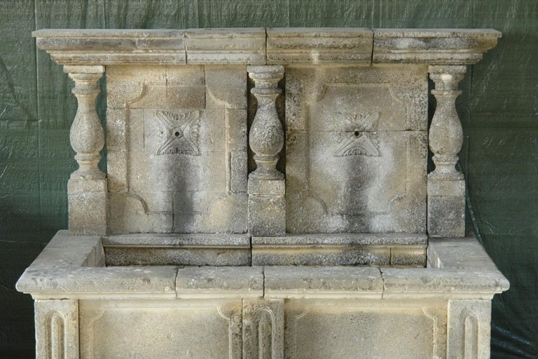 Italian Wall Fountain 3 Columns Handcrafted Limestone, Late 20th Century, Italy For Sale 11