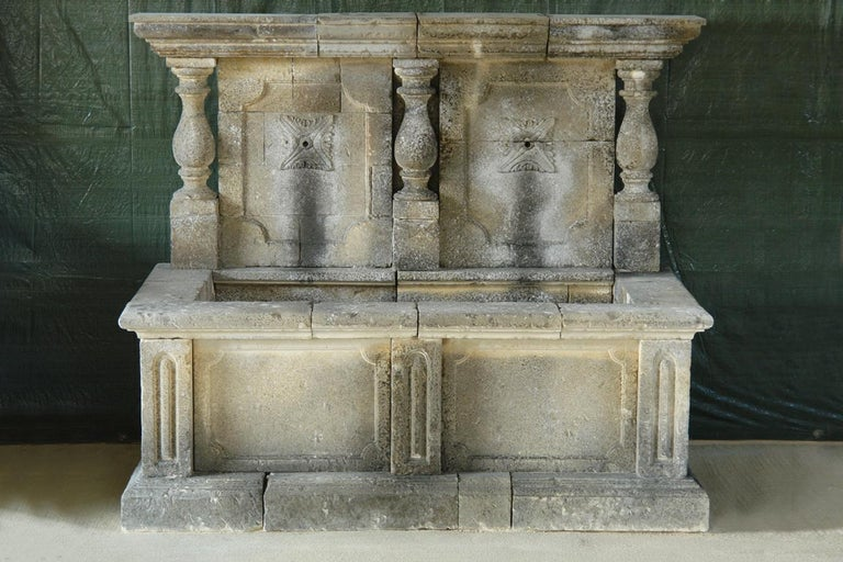 Italian Wall Fountain 3 Columns Handcrafted Limestone, Late 20th Century, Italy For Sale 12