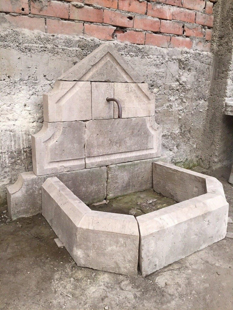 French Limestone Wall Fountain Handcrafted 20th Century, France For Sale 2