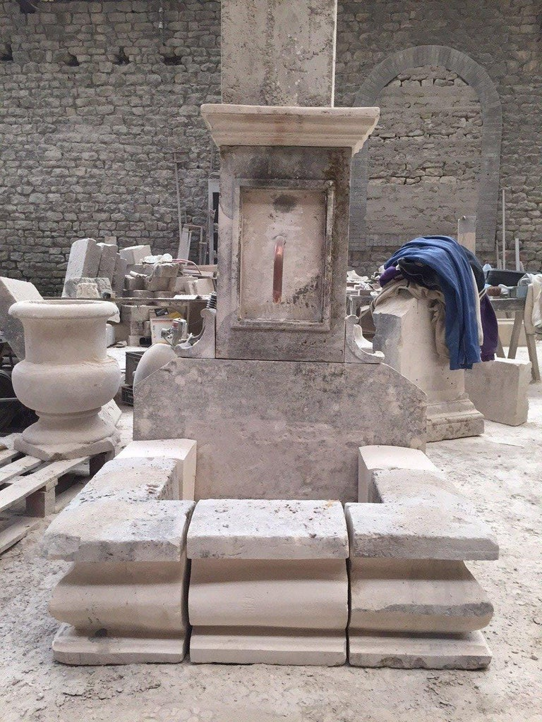 A French limestone fountain handcrafted in pure French antique limestone, 20th century. Excellent quality of Art work. Louis XIV style. Ready for installation as it is.