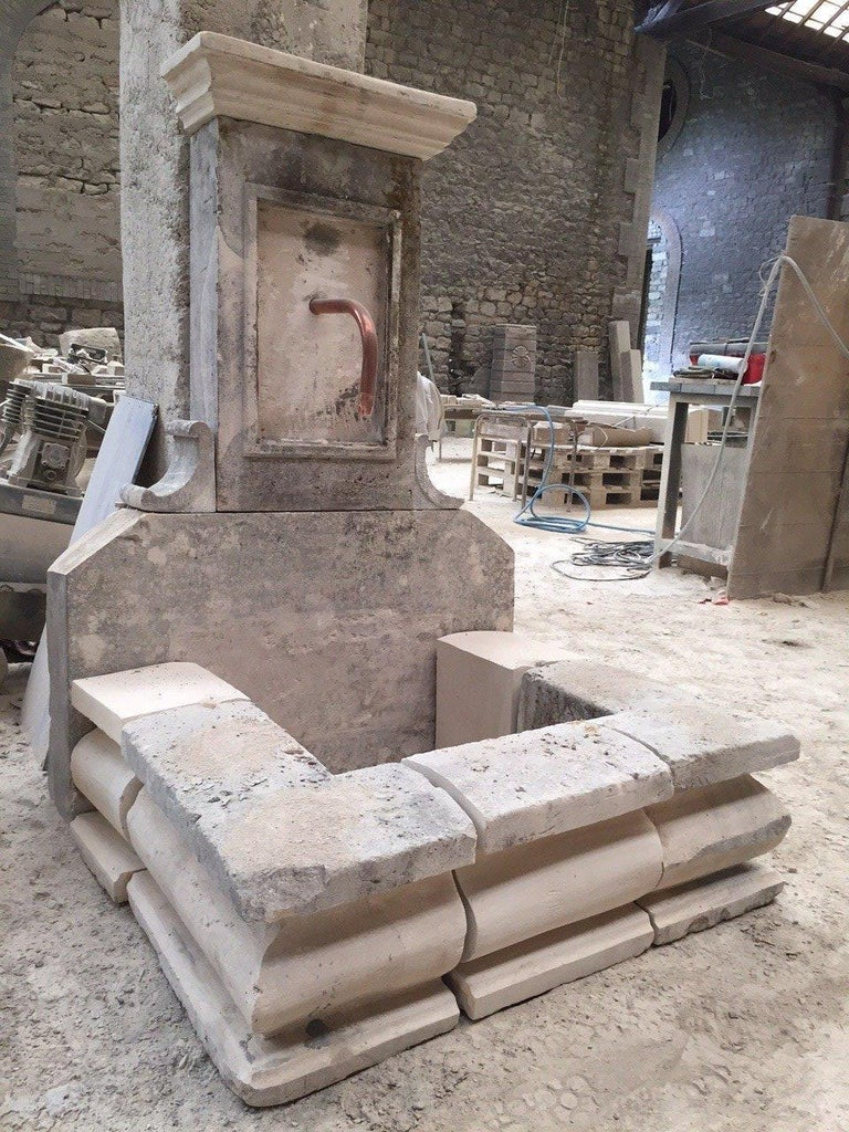European French Limestone Fountain, 20th Century, France For Sale