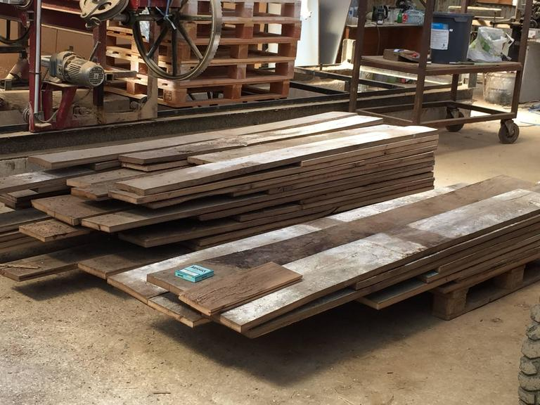 French Antique Oak 17th-19th Century Solid Wood Flooring, Original, France For Sale 4