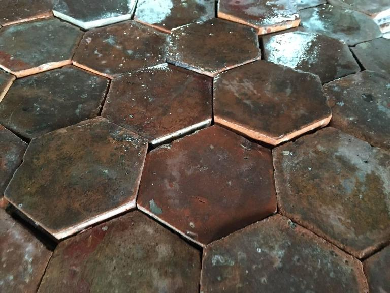 Terracotta Original French Antique Hexagonal Terra Cotta Flooring, 17th-18th Century For Sale