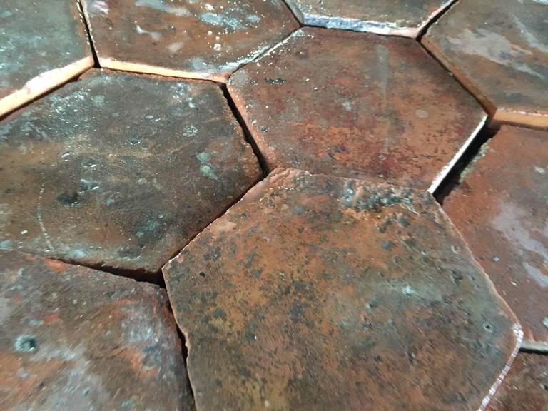 18th Century and Earlier Original French Antique Hexagonal Terra Cotta Flooring, 17th-18th Century For Sale
