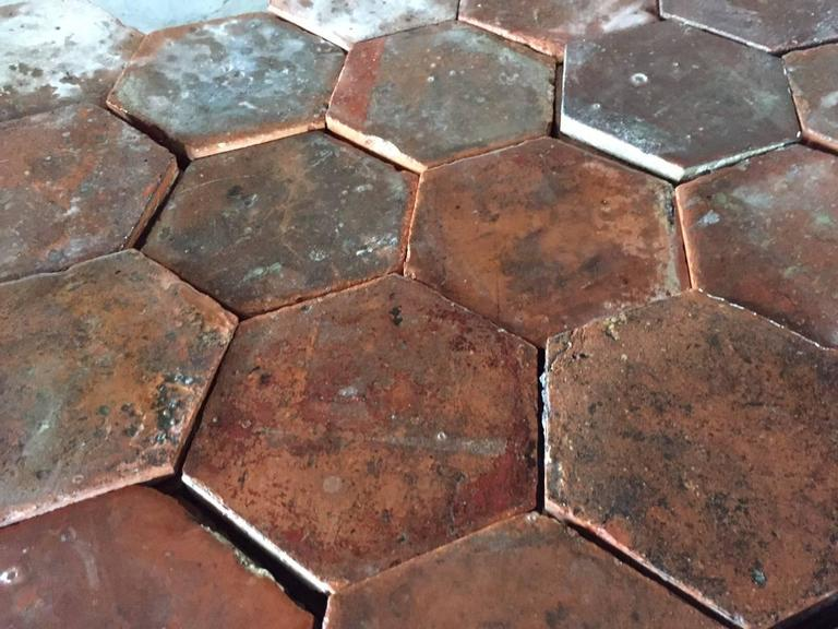 Original French antique hexagonal terra cotta flooring. handmade, hand-finish from the 17th-18th century, reclaimed from old and aged properties.  Original patina and finished, each antique tile has been hand-select and cleaned to be ready for