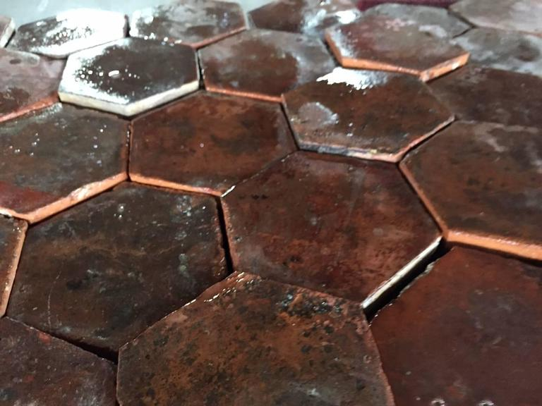 Hand-Crafted Original French Antique Hexagonal Terra Cotta Flooring, 17th-18th Century For Sale