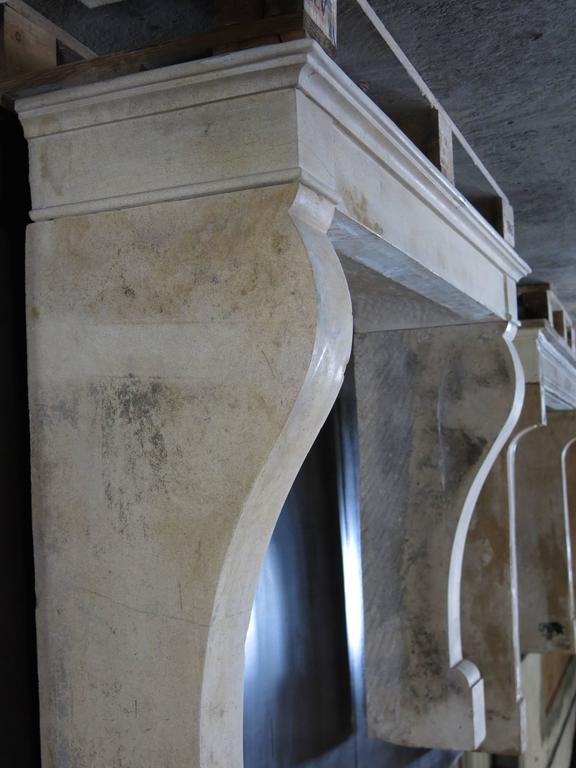 Stone French Antique Louis Philippe Style Fireplace Hand-Carved, 1800s, Paris, France For Sale