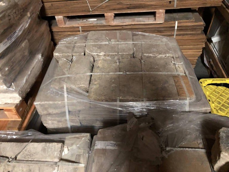 Opus Roman solid antique limestone flooring, 17th century. Price per square foot. Available now from our Los Angeles Warehouse, USA. More info on demand.