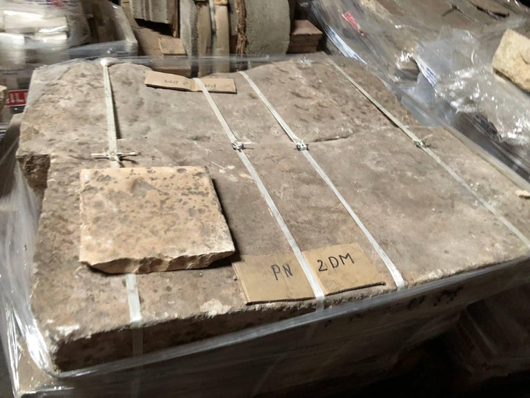 French Opus Roman Solid Antique Limestone Flooring, 17th Century, France. For Sale