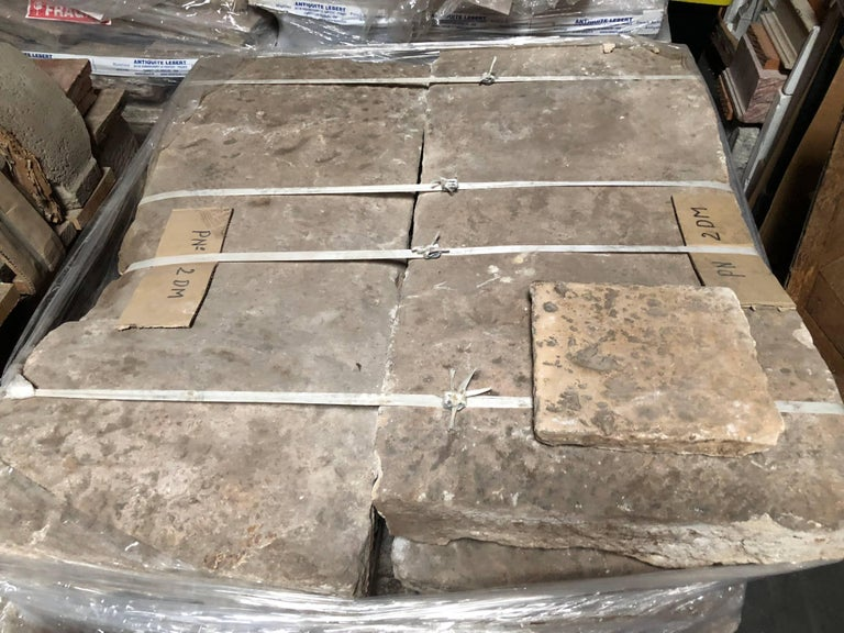 18th Century and Earlier Opus Roman Solid Antique Limestone Flooring, 17th Century, France. For Sale