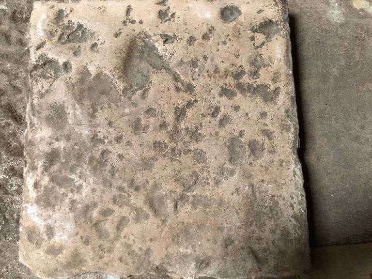 Opus Roman Solid Antique Limestone Flooring, 17th Century, France. For Sale 2
