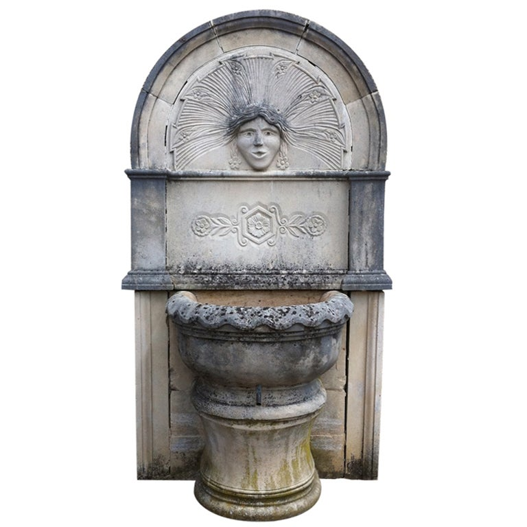 """Wall Fountain in Limestone Dite """"Dainvilloise"""" Handcrafted, France"""