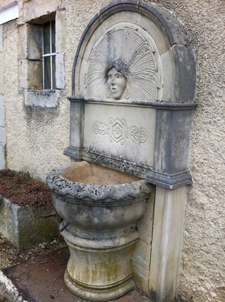 Louis XV Wall Fountain in Limestone Dite