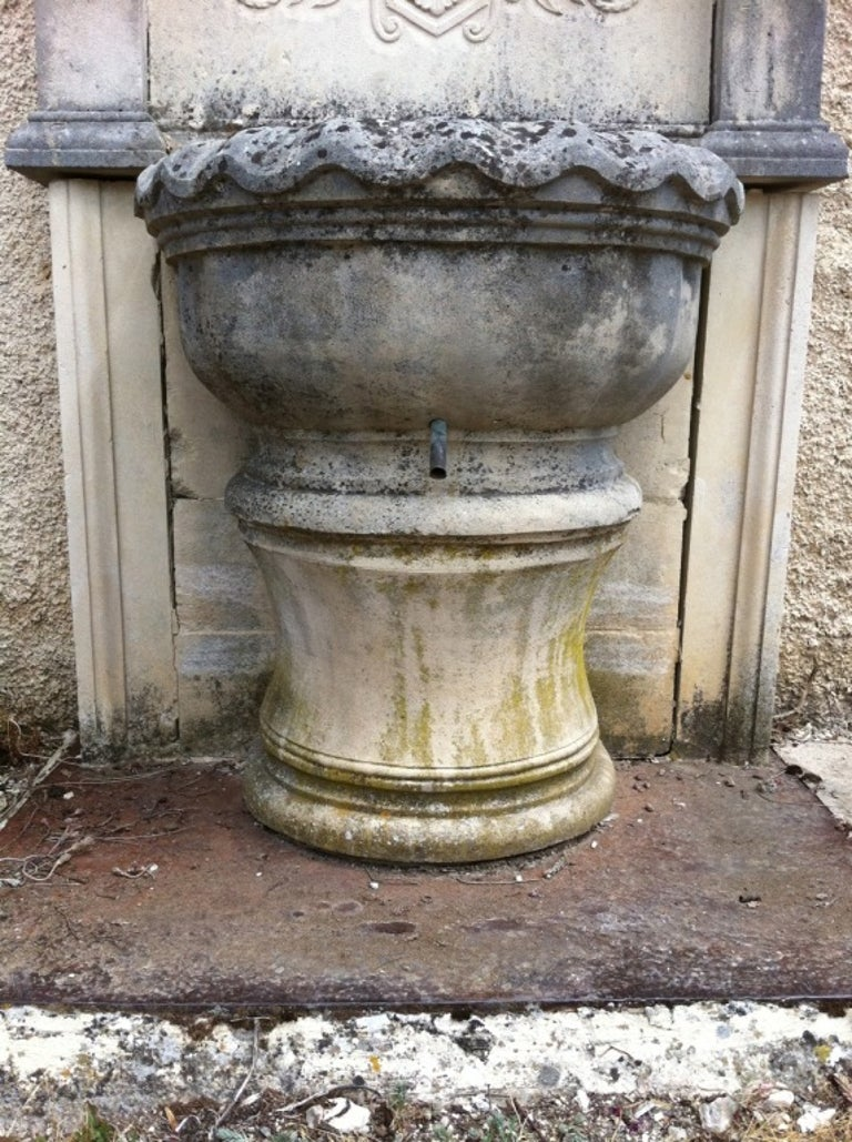 Hand-Crafted Wall Fountain in Limestone Dite