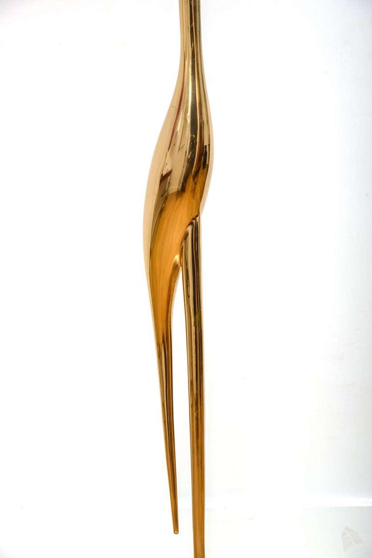 "Modern Bronze ""Crane"" Floor Lamp, circa 1970 by René Broissand"