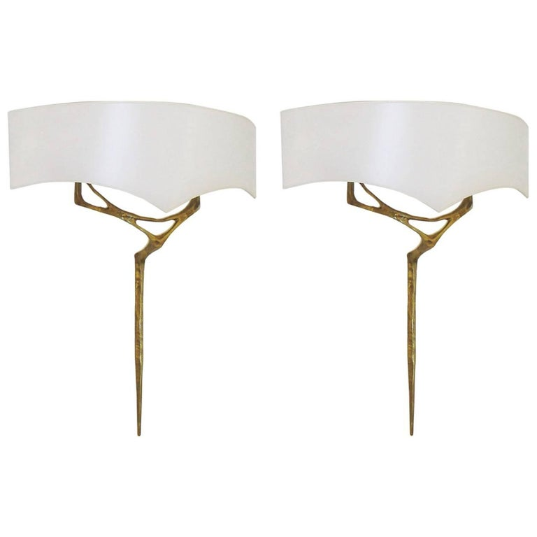 Pair of Gilt Bronze Wall-Sconces by Félix Agostini, circa 1955 For Sale