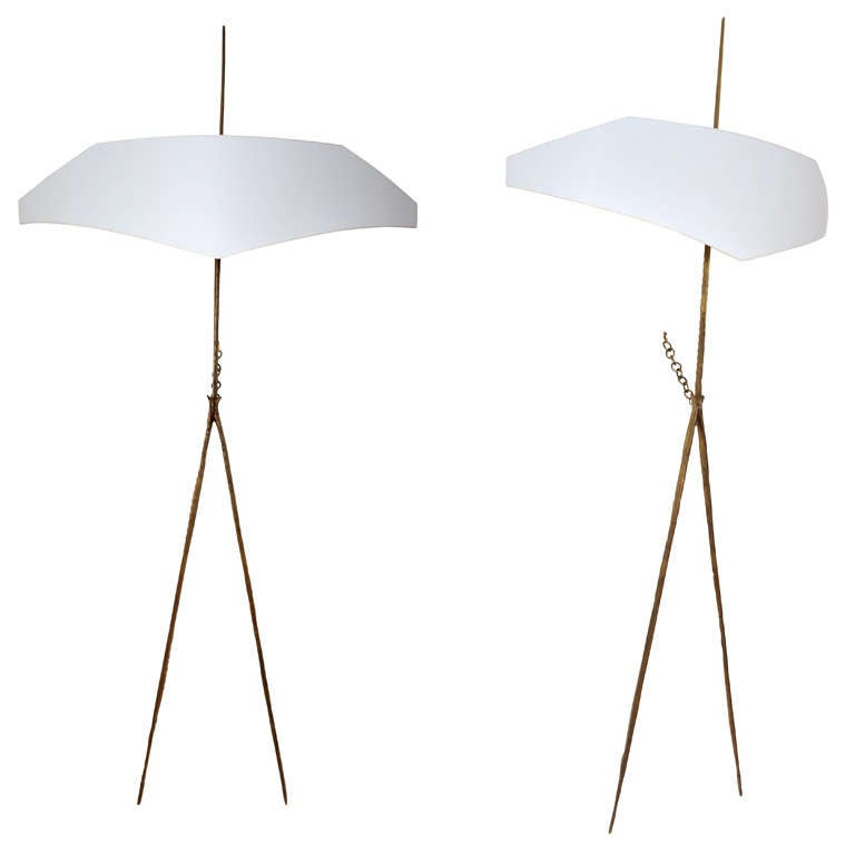 Pair of High Bronze Wall Lights Called Titus by Felix Agostini, circa 1960s