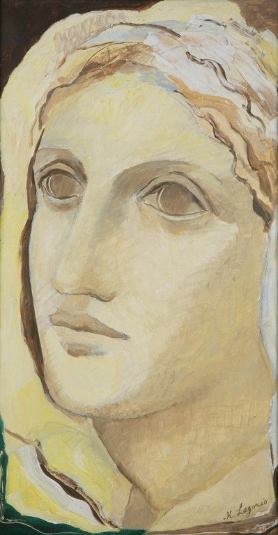 Ideal yellow portrait of a woman, 1930s, by Maria Lagorio (1893-1979).