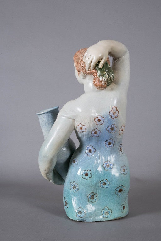 Blue enameled ceramic woman, 1960's, by Odette LEPELTIER. In Good Condition For Sale In Paris, FR